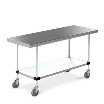 mesa de trabajo de acero inoxidable con ruedas