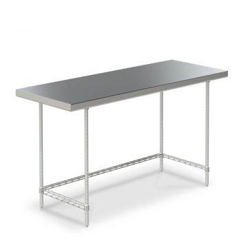 mesa de trabajo de acero inoxidable marco tres lados
