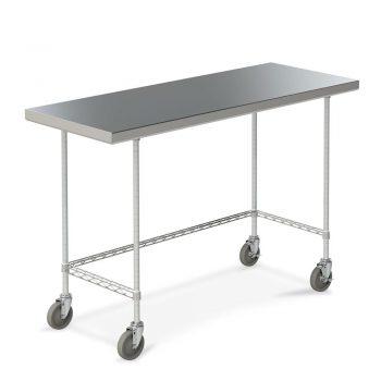 mesa de trabajo de acero inoxidable marco tres lados y ruedas